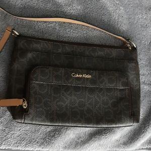 Calvin Klein Logo Saffiano Leather Crossbody Purse